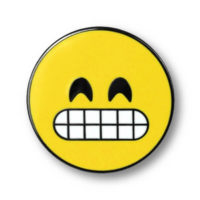 """Pin with illustration of """"Grinning Face with Smiling Eyes"""""""