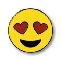 """Pin with illustration of """"Smiling Face with Heart-Shaped Eyes"""""""