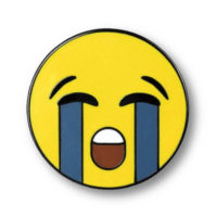 """Pin with illustration of """"Loudly Crying Face"""""""